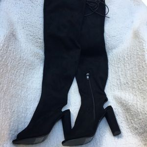 Shoes - New Open Toe and Heel Thigh High Faux Suede Boots!